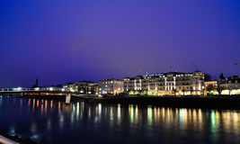 Salzburg at night. Night view of Salzach river in the historical center of Salzburg Stock Image