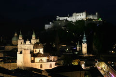 Salzburg by night. Overview of the old town of Salzburg by night, Austria Stock Image
