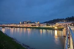 Salzburg at night Royalty Free Stock Photos