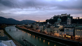 Salzburg by night. Beautiful scenery in Salzburg, evening, night, sky Royalty Free Stock Images