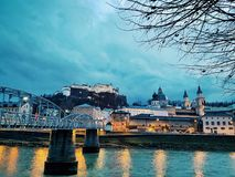 Salzburg by night Royalty Free Stock Photography