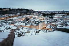 Salzburg old city at christmas time, snowy in the evening, Austria royalty free stock photos