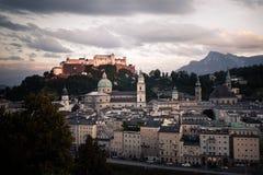Salzburg old town skyline. Hohensalzburg Castle fortress, Austria royalty free stock photo