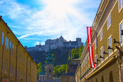 Salzburg, Oostenrijk - Mei 01, 2017: Hohensalzburgvesting, Salzburg in Oostenrijk Royalty-vrije Stock Fotografie