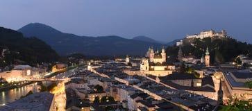 Salzburg panorama at night time, Austria stock image