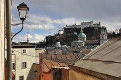 Salzburg pejzaż miejski i kasztel, Austria. obraz stock