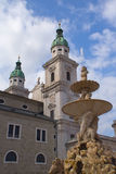 Salzburg Residenz Square with fountain Royalty Free Stock Photo