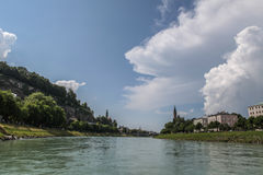 Salzburg River. The beautiful afternoon view of the Salzburg city, Austria Royalty Free Stock Image