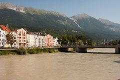 Salzburg river, Austria, near the love lock Bridge Royalty Free Stock Photos