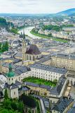 Salzburg city from high point of view in Salzburg Fort and castl Stock Photos