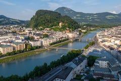 Salzburg, Rivier Stock Foto