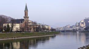 Salzburg and Salzach River Royalty Free Stock Photo