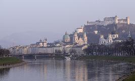 Salzburg and Salzach River Royalty Free Stock Images