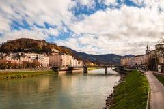 Salzburg with Salzach river Stock Photography