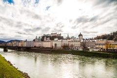 Salzburg with Salzach river Royalty Free Stock Photos