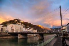 Salzburg with Salzach river Stock Image