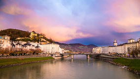 Salzburg with Salzach river Royalty Free Stock Photography