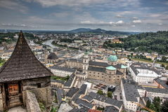 Salzburg seen from castle Royalty Free Stock Image