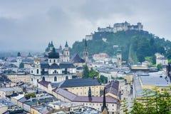Salzburg seen from Monchsberg, Austria Royalty Free Stock Photography