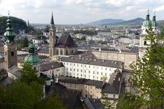 Salzburg sikt från den Hohensalzburg slotten Fotografering för Bildbyråer