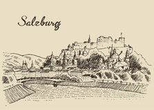 Salzburg skyline Austria vintage hand drawn sketch Royalty Free Stock Image
