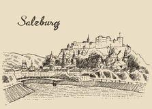 Salzburg skyline Austria vintage hand drawn sketch. Salzburg skyline Austria vintage engraved illustration hand drawn sketch Royalty Free Stock Image