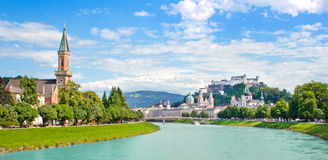 Salzburg skyline with Festung Hohensalzburg and river Salzach, Salzburger Land, Austria