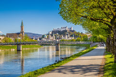 Salzburg skyline with Festung Hohensalzburg and Salzach river in summer. Beautiful view of Salzburg skyline with Festung Hohensalzburg and Salzach river in Stock Photos