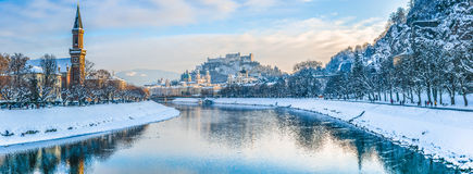 Salzburg skyline with Fortress Hohensalzburg in winter, Austria