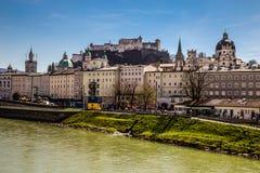 Salzburg skyline,fortress,Salzach river-Austria Stock Image