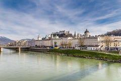 Salzburg skyline,fortress,Salzach river-Austria Stock Images