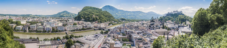 Salzburg skyline from the Monchsberg viewpoint, Austria Royalty Free Stock Photography