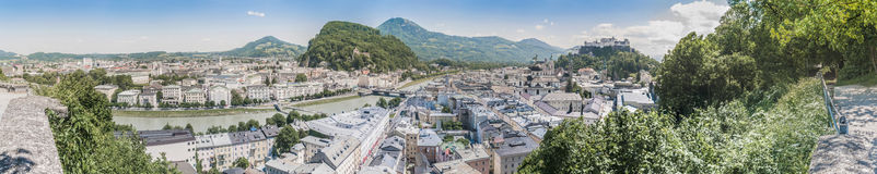 Salzburg skyline from the Monchsberg viewpoint, Austria Stock Photo