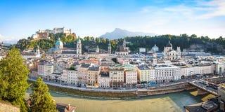 Salzburg skyline panorama at sunset, Salzburger Land, Austria royalty free stock photo