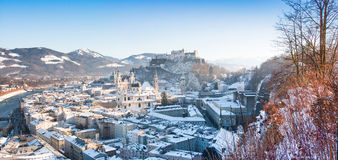 Salzburg skyline panorama in winter, Salzburger Land, Austria Stock Image