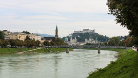Salzburg skyline with river Salzach in Salzburger Land, Austria Royalty Free Stock Photo