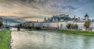 Salzburg skyline with river Salzach in Salzburger Land, Austria Stock Photography