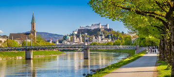 Salzburg skyline river Salzach in spring, Austria Royalty Free Stock Photo