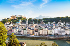 Salzburg skyline with river Salzach at sunset, Austria Royalty Free Stock Image