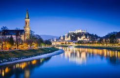 Salzburg skyline with Salzach river at blue hour, Austria Stock Photo