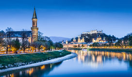 Salzburg skyline with Salzach river during blue hour, Austria Stock Photography