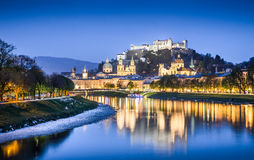 Salzburg skyline with Salzach river at dusk, Austria Stock Photography
