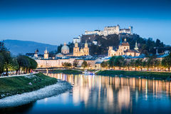 Salzburg skyline with Salzach river at dusk, Austria Royalty Free Stock Photos