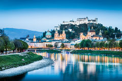Salzburg skyline with Salzach river at dusk, Austria Stock Photos