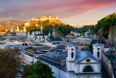 Salzburg skyline at sunset, Austria Stock Photography