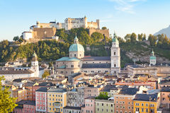 Salzburg skyline at sunset, Salzburger Land, Austria Stock Image