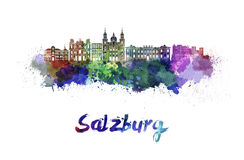 Salzburg skyline in watercolor Stock Photos