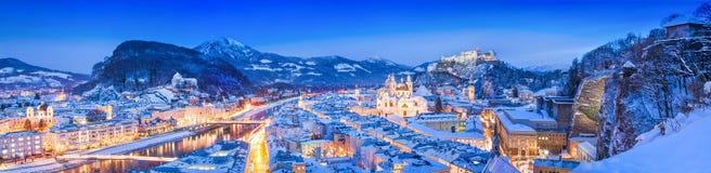 Salzburg skyline winter panorama at blue hour, Austria