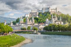 Salzburg Stadt with Salzach river and Hohensalzburg Castle, Salz Stock Photos