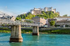 Salzburg Stadt with Salzach river and Hohensalzburg Castle, Salzburg Stock Photos
